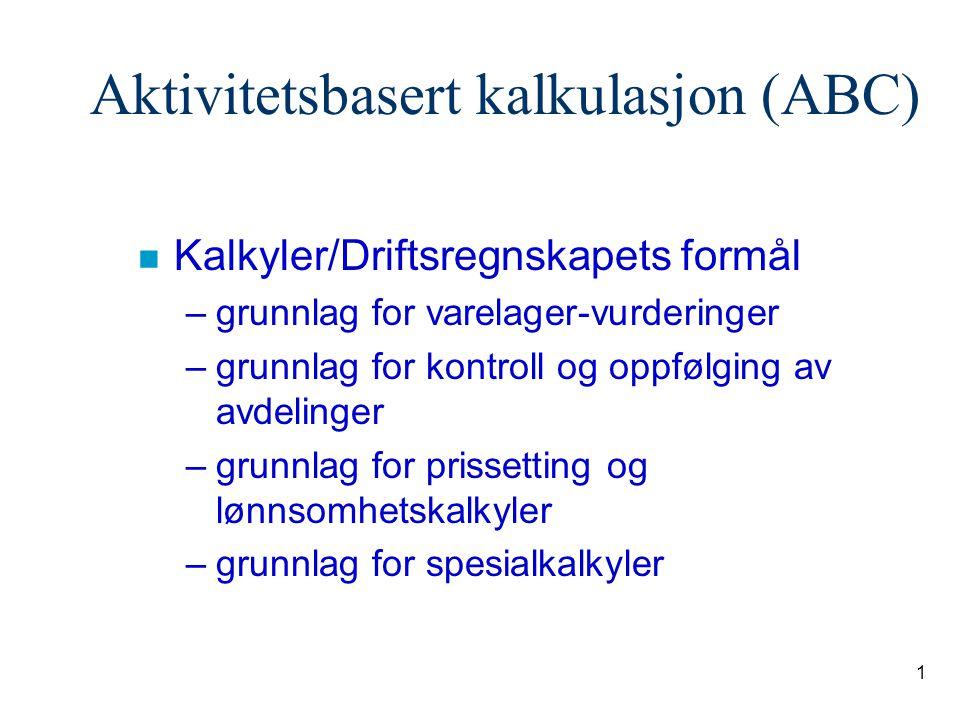1 Aktivitetsbasert kalkulasjon (ABC) n Kalkyler/Driftsregnskapets formål –grunnlag for varelager-vurderinger –grunnlag for kontroll og oppfølging av a