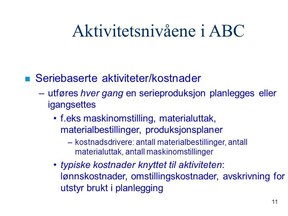 11 Aktivitetsnivåene i ABC n Seriebaserte aktiviteter/kostnader –utføres hver gang en serieproduksjon planlegges eller igangsettes f.eks maskinomstill