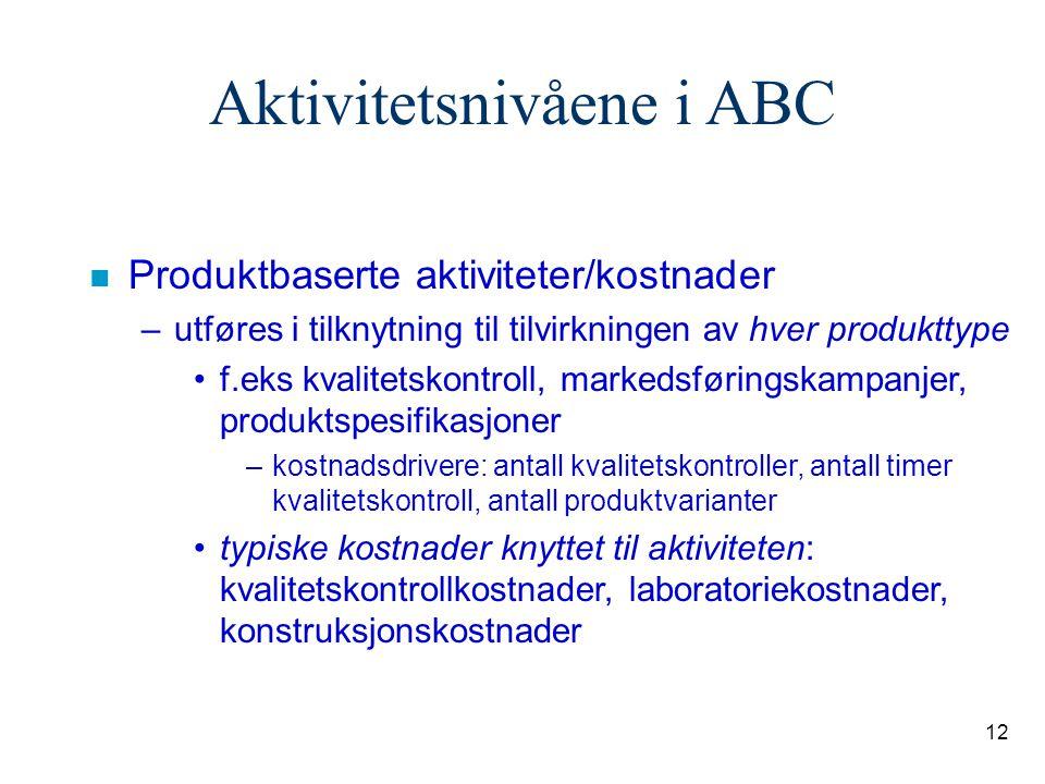 12 Aktivitetsnivåene i ABC n Produktbaserte aktiviteter/kostnader –utføres i tilknytning til tilvirkningen av hver produkttype f.eks kvalitetskontroll
