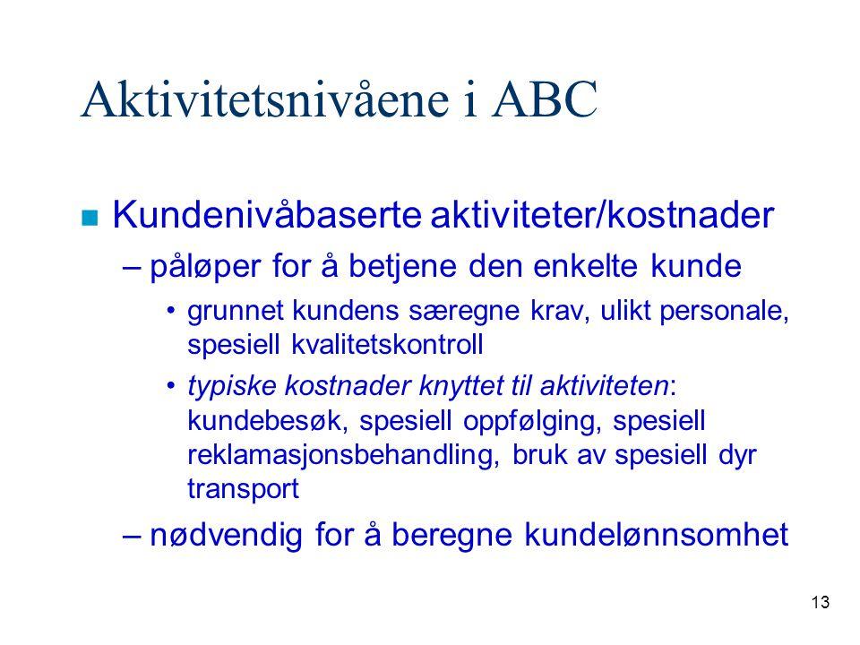 13 Aktivitetsnivåene i ABC n Kundenivåbaserte aktiviteter/kostnader –påløper for å betjene den enkelte kunde grunnet kundens særegne krav, ulikt perso