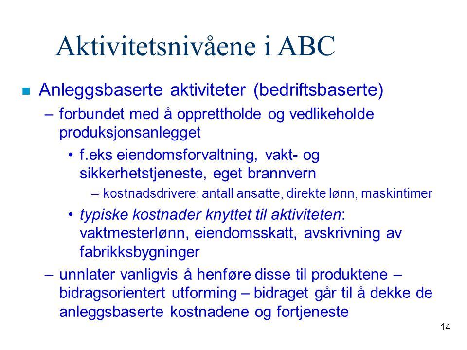 14 Aktivitetsnivåene i ABC n Anleggsbaserte aktiviteter (bedriftsbaserte) –forbundet med å opprettholde og vedlikeholde produksjonsanlegget f.eks eien
