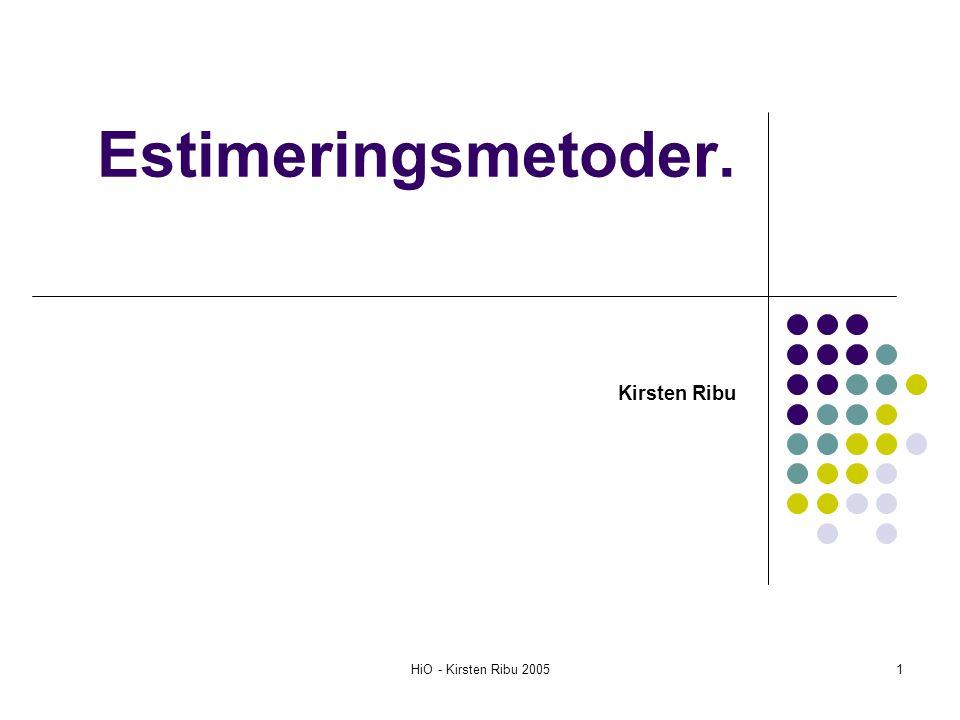 HiO - Kirsten Ribu 200512 Prosentvis bottom-up estimering basert på empiri Prosjektledelse 20% Analyse: 15% Design:20% Koding:25% Testing 15% Systemintegrasjon 5% Totalt100%