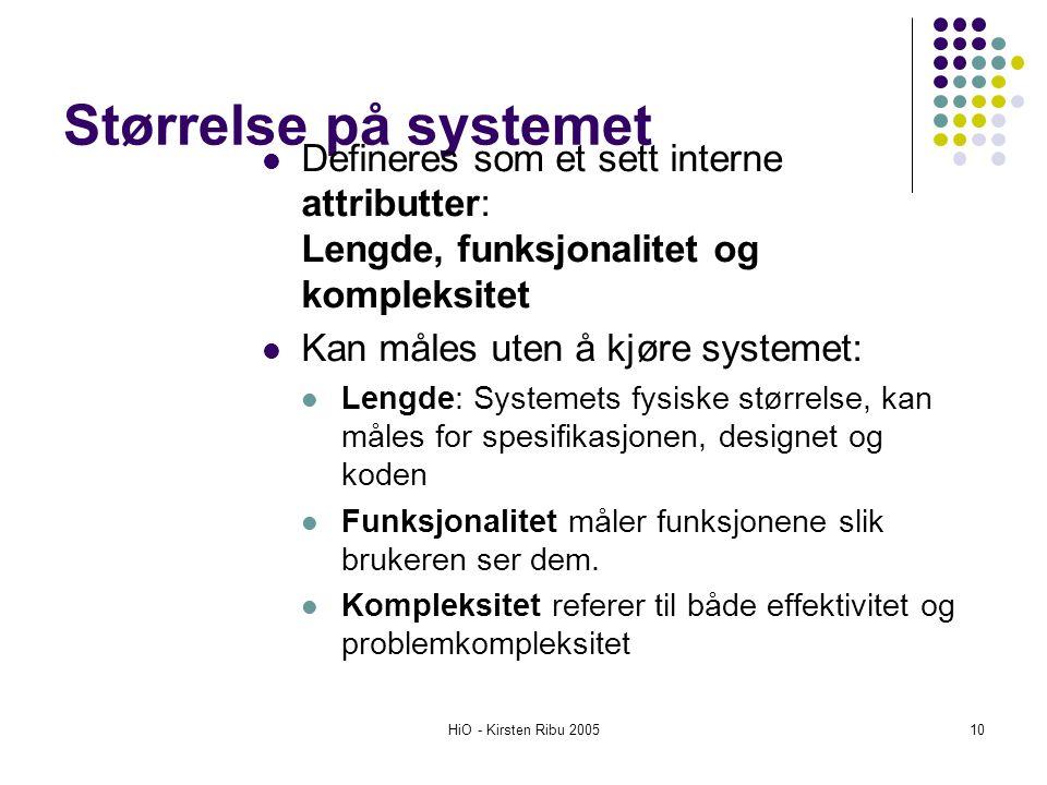 HiO - Kirsten Ribu 200510 Størrelse på systemet Defineres som et sett interne attributter: Lengde, funksjonalitet og kompleksitet Kan måles uten å kjø