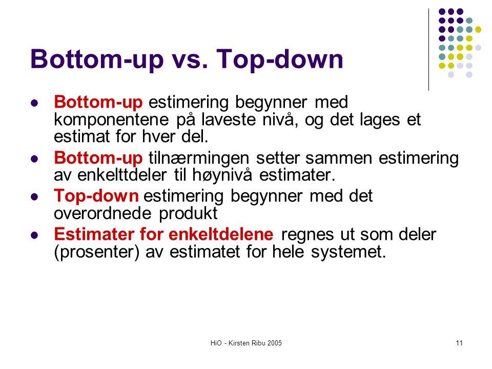 HiO - Kirsten Ribu 200511 Bottom-up vs. Top-down Bottom-up estimering begynner med komponentene på laveste nivå, og det lages et estimat for hver del.