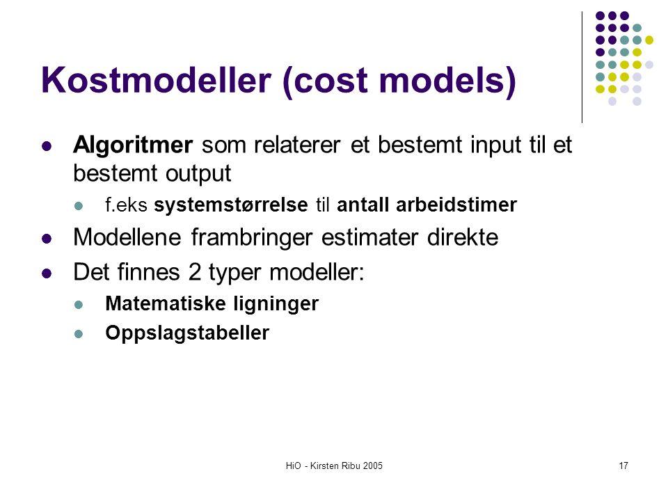 HiO - Kirsten Ribu 200517 Kostmodeller (cost models) Algoritmer som relaterer et bestemt input til et bestemt output f.eks systemstørrelse til antall
