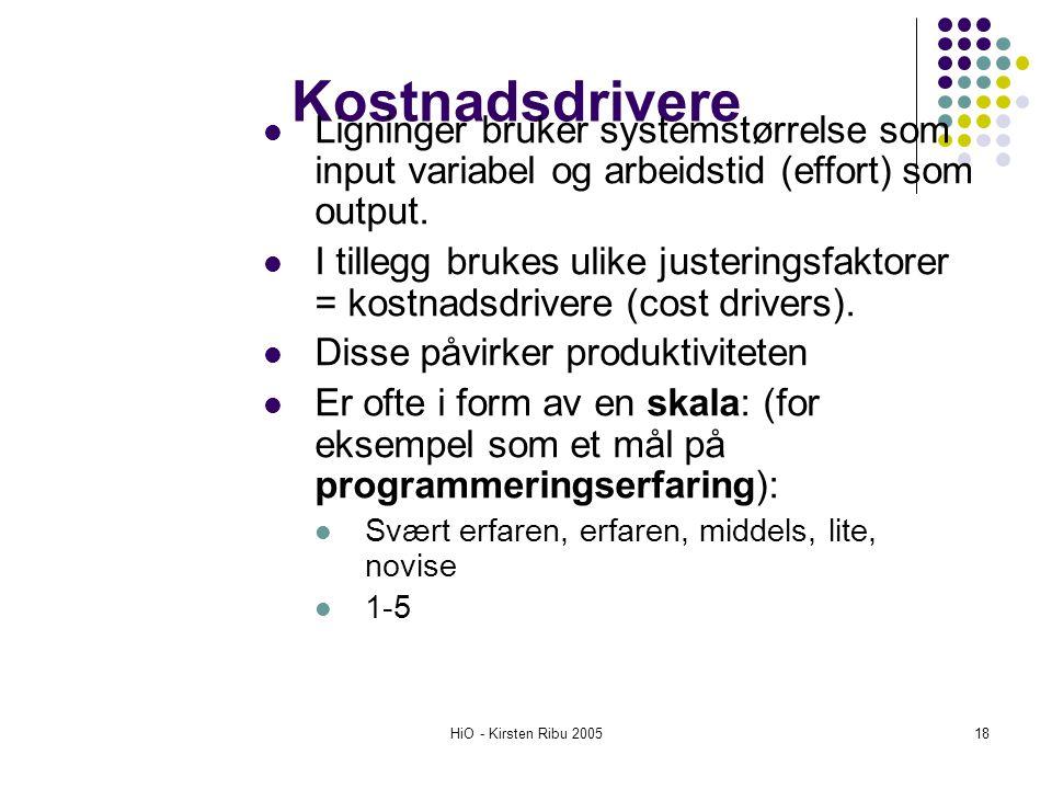 HiO - Kirsten Ribu 200518 Kostnadsdrivere Ligninger bruker systemstørrelse som input variabel og arbeidstid (effort) som output. I tillegg brukes ulik