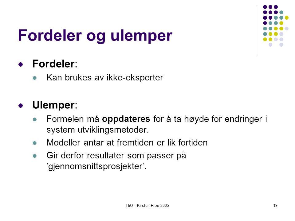 HiO - Kirsten Ribu 200519 Fordeler og ulemper Fordeler: Kan brukes av ikke-eksperter Ulemper: Formelen må oppdateres for å ta høyde for endringer i sy