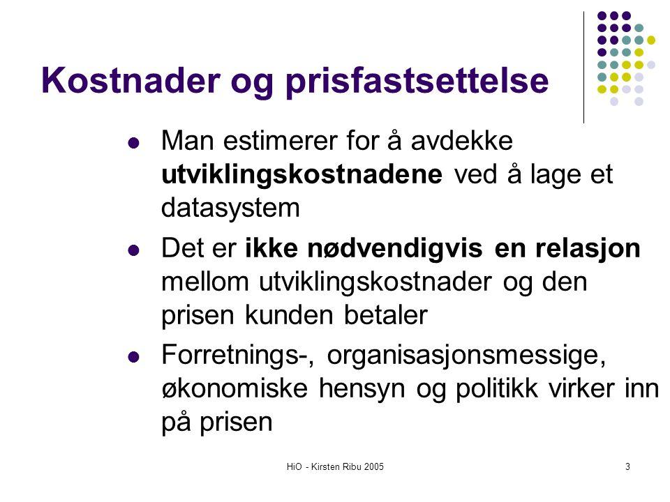 HiO - Kirsten Ribu 200534 Neste gang Testing (Validering og verifisering) kvalitetssikring Gurholt & Hasle kapittel 14 Ukeoppgave: lag et estimat for systemet ditt utfra de use casene du har spesifisert.