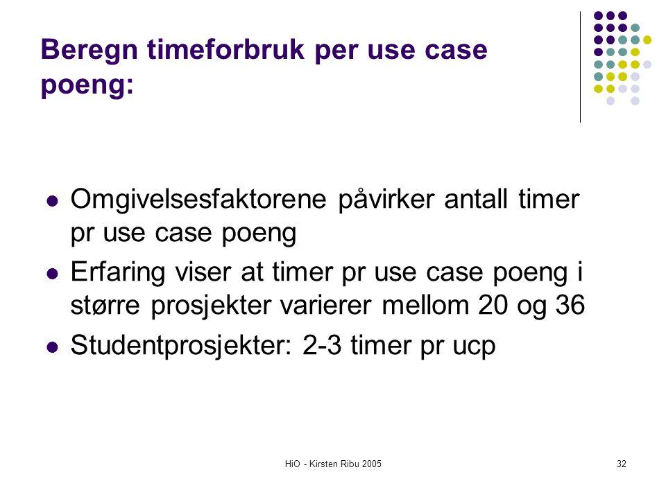 HiO - Kirsten Ribu 200532 Omgivelsesfaktorene påvirker antall timer pr use case poeng Erfaring viser at timer pr use case poeng i større prosjekter va