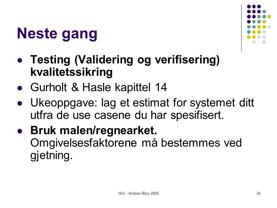 HiO - Kirsten Ribu 200534 Neste gang Testing (Validering og verifisering) kvalitetssikring Gurholt & Hasle kapittel 14 Ukeoppgave: lag et estimat for