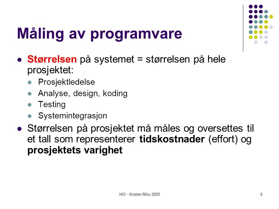 HiO - Kirsten Ribu 20056 Måling av programvare Størrelsen på systemet = størrelsen på hele prosjektet: Prosjektledelse Analyse, design, koding Testing