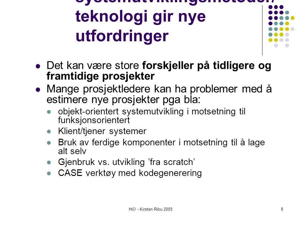 HiO - Kirsten Ribu 20059 Bruk av algoritmer Mest systematisk framgangsmåte Ikke nødvendigvis nøyaktig En algoritme lages ved å analysere kostnader og attributter på ferdige prosjekter En matematisk formel brukes for å forutsi kostnader basert på estimater av systemets størrelse, antall programmere, og ulike prosess- og produktfaktorer Er basert på empiriske observasjoner
