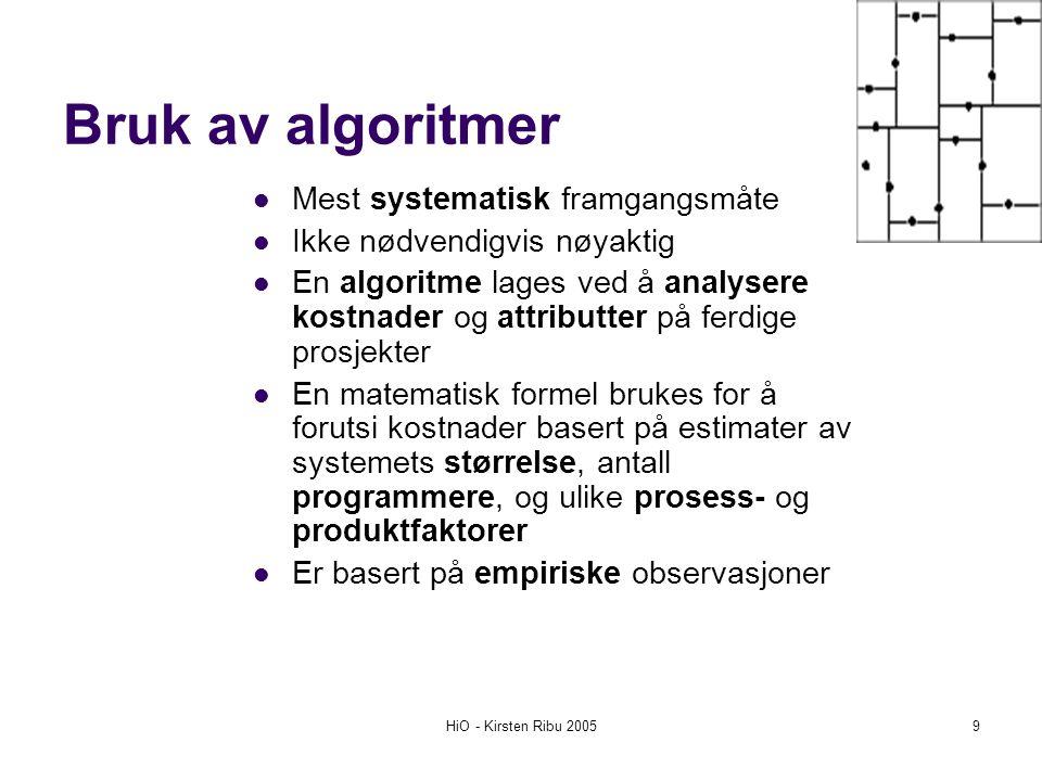 HiO - Kirsten Ribu 20059 Bruk av algoritmer Mest systematisk framgangsmåte Ikke nødvendigvis nøyaktig En algoritme lages ved å analysere kostnader og