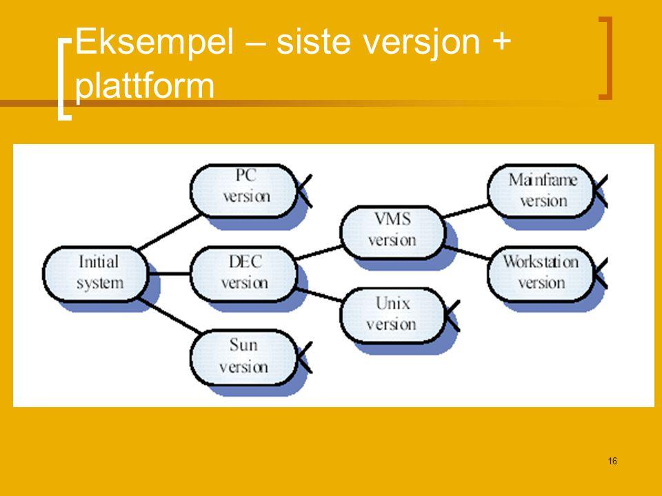16 Eksempel – siste versjon + plattform