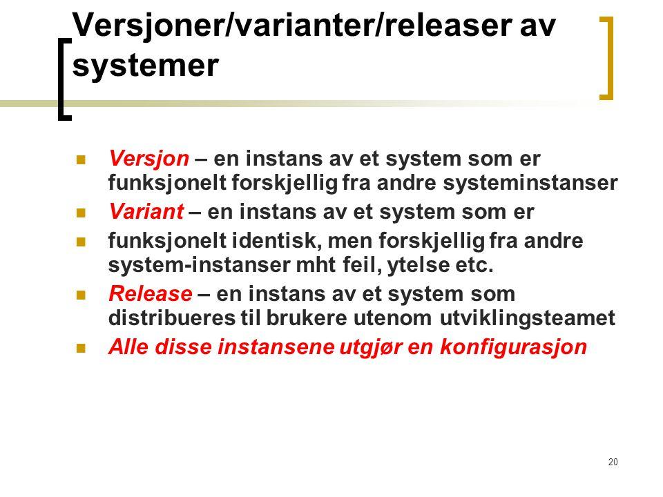 20 Versjoner/varianter/releaser av systemer Versjon – en instans av et system som er funksjonelt forskjellig fra andre systeminstanser Variant – en instans av et system som er funksjonelt identisk, men forskjellig fra andre system-instanser mht feil, ytelse etc.