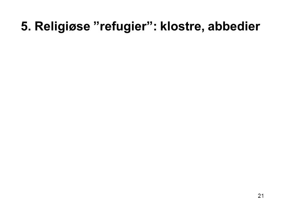 """21 5. Religiøse """"refugier"""": klostre, abbedier"""