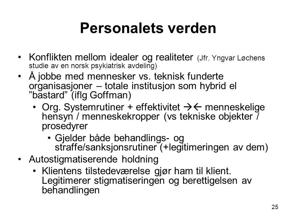 25 Personalets verden Konflikten mellom idealer og realiteter (Jfr. Yngvar Løchens studie av en norsk psykiatrisk avdeling) Å jobbe med mennesker vs.