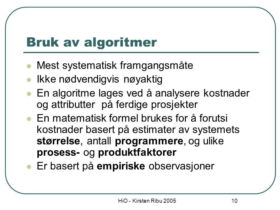 HiO - Kirsten Ribu 2005 10 Bruk av algoritmer Mest systematisk framgangsmåte Ikke nødvendigvis nøyaktig En algoritme lages ved å analysere kostnader o