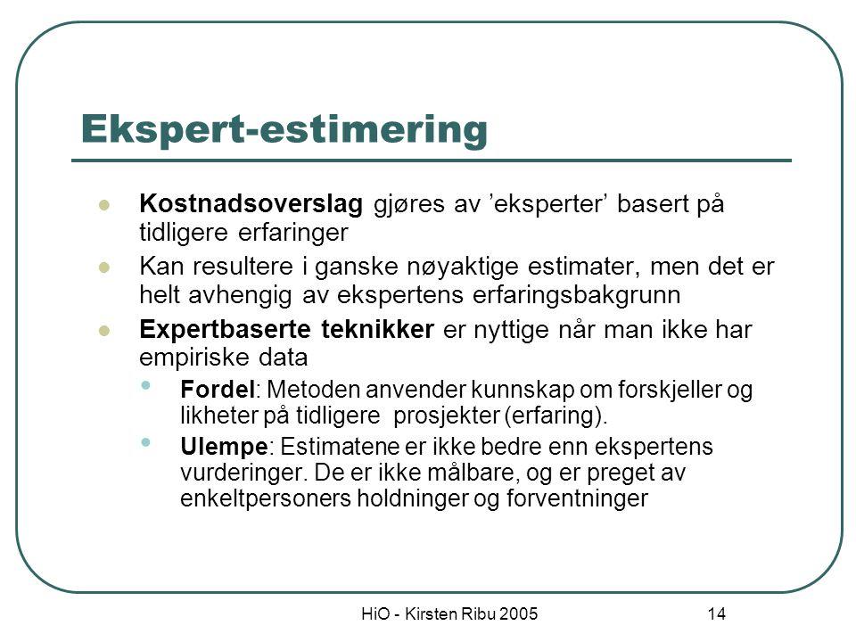 HiO - Kirsten Ribu 2005 14 Ekspert-estimering Kostnadsoverslag gjøres av 'eksperter' basert på tidligere erfaringer Kan resultere i ganske nøyaktige e