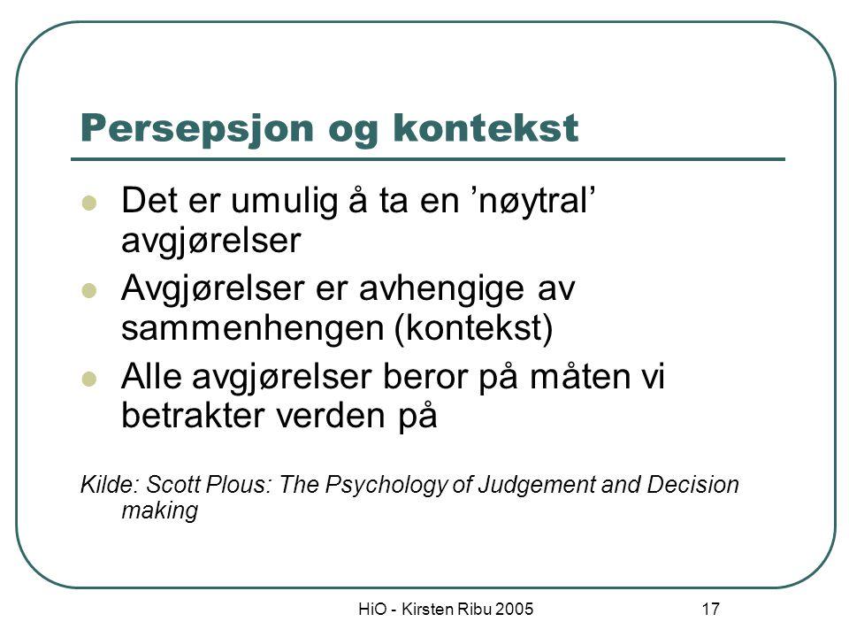 HiO - Kirsten Ribu 2005 18 Selektiv persepsjon Persepsjon (oppfattelse) avhenger av motivasjon og kognitive faktorer Spørsmål: Hvilke forventninger har jeg i denne situasjonen.