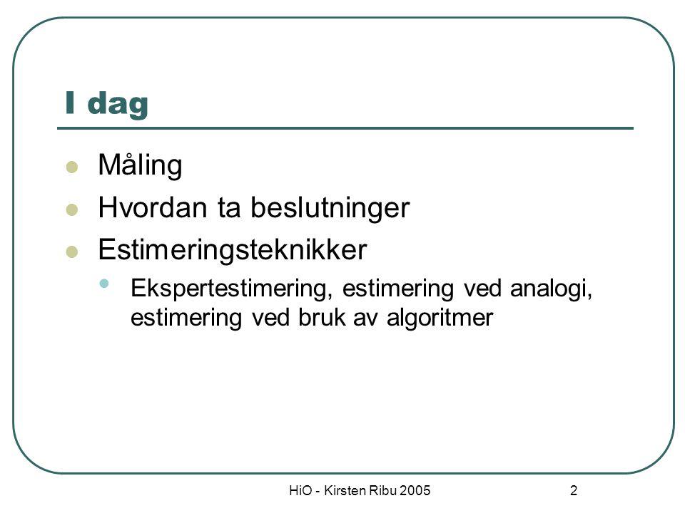 HiO - Kirsten Ribu 2005 2 I dag Måling Hvordan ta beslutninger Estimeringsteknikker Ekspertestimering, estimering ved analogi, estimering ved bruk av