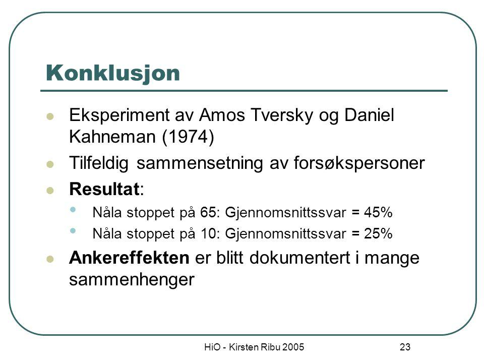 HiO - Kirsten Ribu 2005 23 Konklusjon Eksperiment av Amos Tversky og Daniel Kahneman (1974) Tilfeldig sammensetning av forsøkspersoner Resultat: Nåla