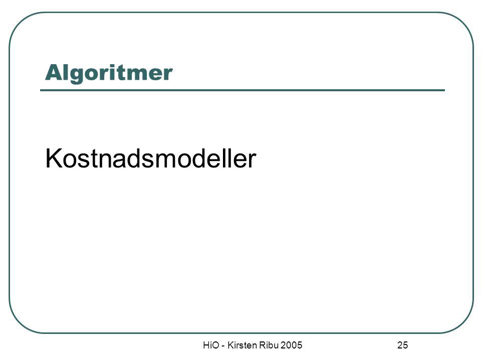 HiO - Kirsten Ribu 2005 26 Kostmodeller (cost models) Algoritmer som relaterer et bestemt input til et bestemt output f.eks systemstørrelse til antall arbeidstimer Modellene frambringer estimater direkte Det finnes 2 typer modeller: Matematiske ligninger Oppslagstabeller