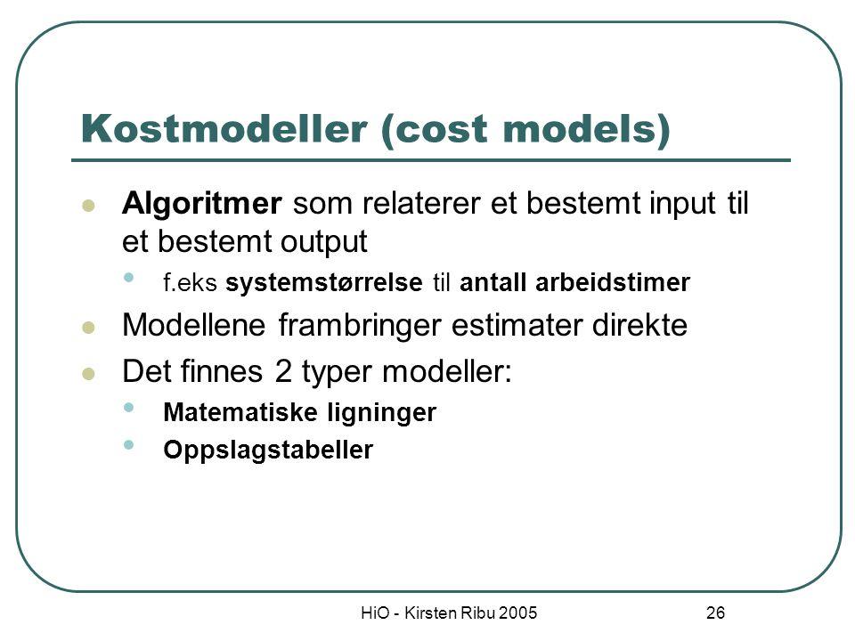 HiO - Kirsten Ribu 2005 26 Kostmodeller (cost models) Algoritmer som relaterer et bestemt input til et bestemt output f.eks systemstørrelse til antall