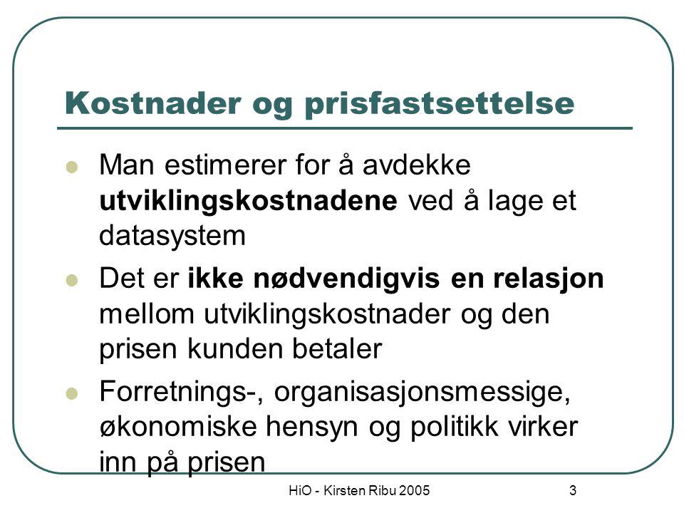 HiO - Kirsten Ribu 2005 4 Estimering = måling Måling = Å tilordne tall eller symboler til entiteter for å beskrive dem på en meningsfylt måte.