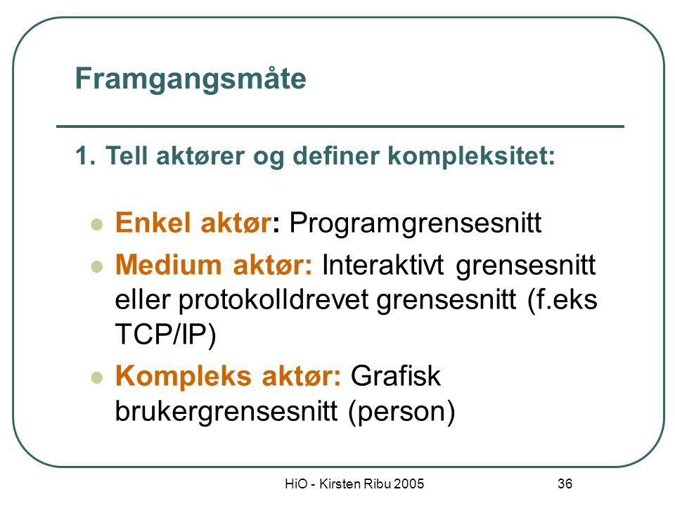 HiO - Kirsten Ribu 2005 36 Enkel aktør: Programgrensesnitt Medium aktør: Interaktivt grensesnitt eller protokolldrevet grensesnitt (f.eks TCP/IP) Komp