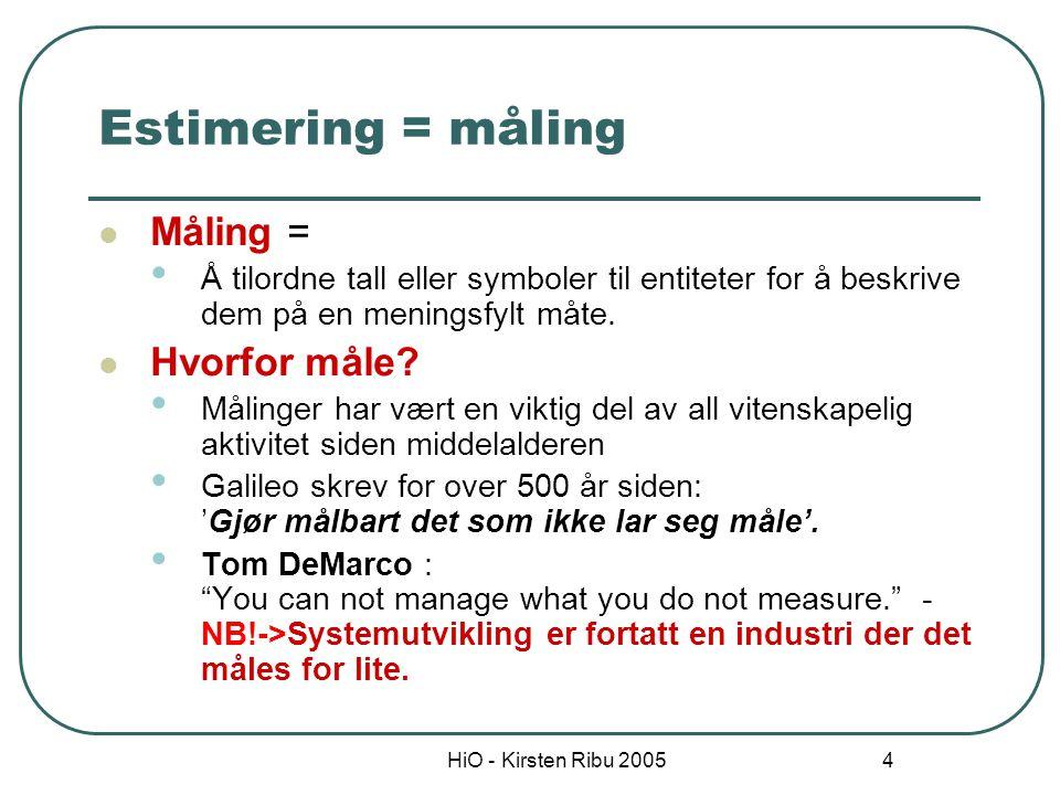 HiO - Kirsten Ribu 2005 4 Estimering = måling Måling = Å tilordne tall eller symboler til entiteter for å beskrive dem på en meningsfylt måte. Hvorfor