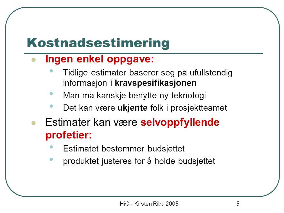 HiO - Kirsten Ribu 2005 6 Ulike estimeringsmetoder Telle antall kodelinjer Ekspertestimering Analogier Algoritmer - kostnadsmnodeller Funksjonspoengmetoden Use case poeng metoden