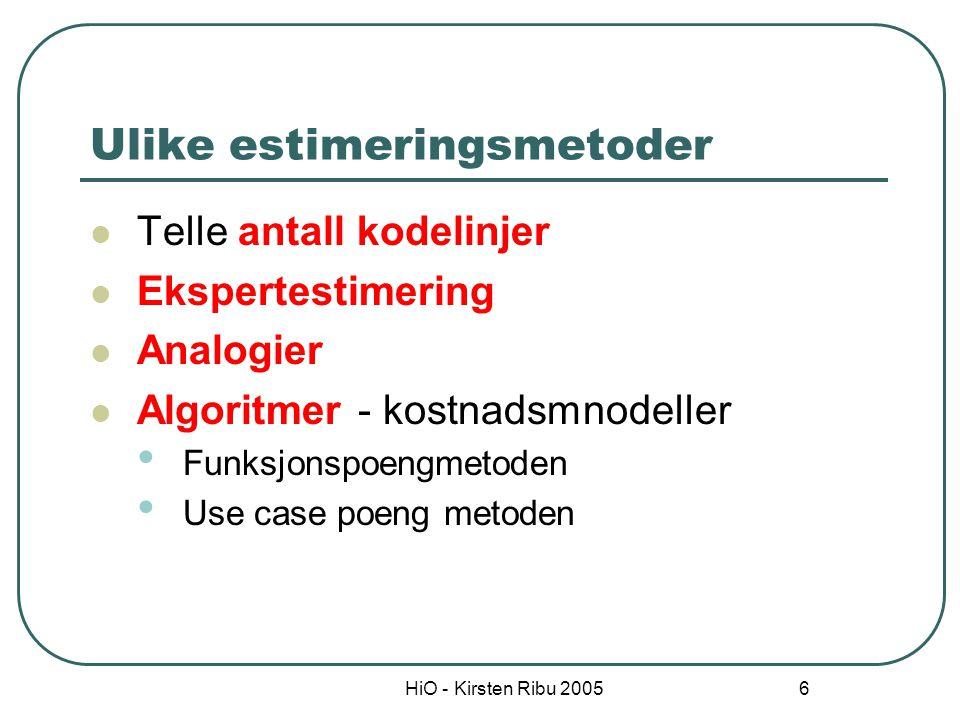 HiO - Kirsten Ribu 2005 6 Ulike estimeringsmetoder Telle antall kodelinjer Ekspertestimering Analogier Algoritmer - kostnadsmnodeller Funksjonspoengme