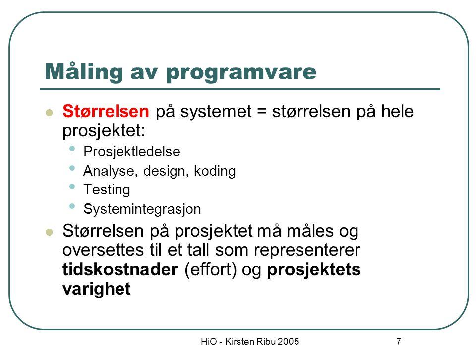 HiO - Kirsten Ribu 2005 7 Måling av programvare Størrelsen på systemet = størrelsen på hele prosjektet: Prosjektledelse Analyse, design, koding Testin