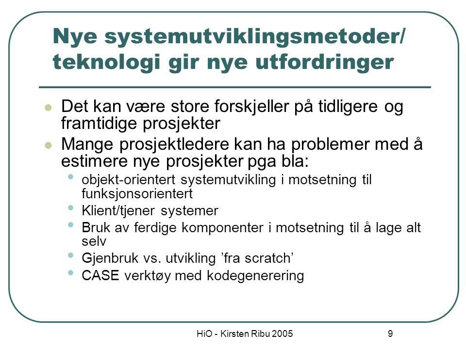 HiO - Kirsten Ribu 2005 10 Bruk av algoritmer Mest systematisk framgangsmåte Ikke nødvendigvis nøyaktig En algoritme lages ved å analysere kostnader og attributter på ferdige prosjekter En matematisk formel brukes for å forutsi kostnader basert på estimater av systemets størrelse, antall programmere, og ulike prosess- og produktfaktorer Er basert på empiriske observasjoner