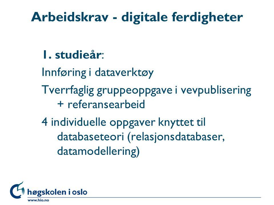 Arbeidskrav - digitale ferdigheter 1.