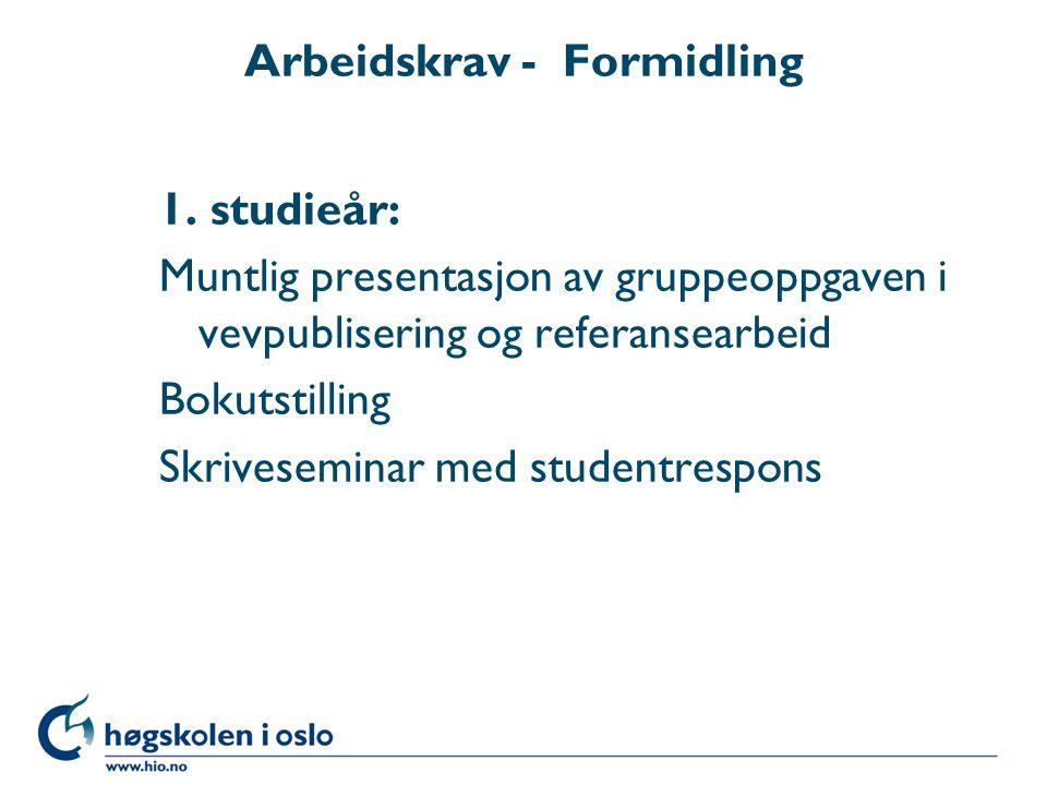Arbeidskrav - Formidling 1.