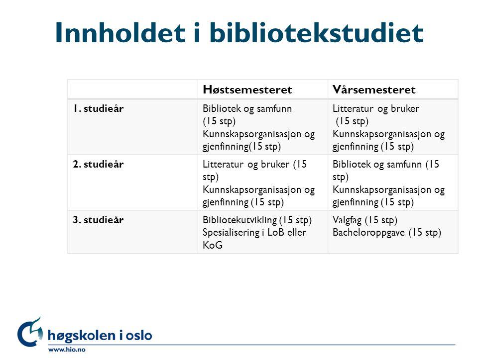 Innholdet i bibliotekstudiet HøstsemesteretVårsemesteret 1.