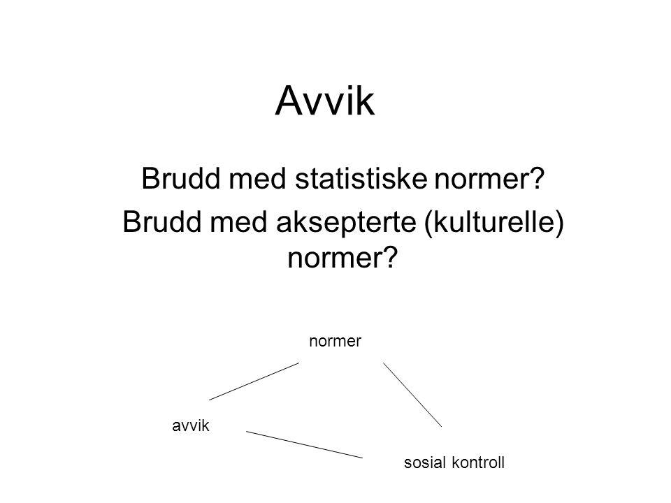 Avvik Brudd med statistiske normer? Brudd med aksepterte (kulturelle) normer? avvik normer sosial kontroll