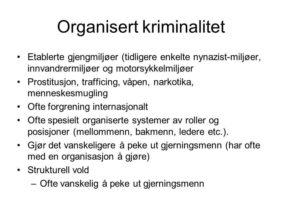 Organisert kriminalitet Etablerte gjengmiljøer (tidligere enkelte nynazist-miljøer, innvandrermiljøer og motorsykkelmiljøer Prostitusjon, trafficing,