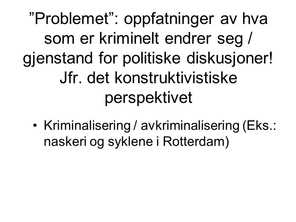"""""""Problemet"""": oppfatninger av hva som er kriminelt endrer seg / gjenstand for politiske diskusjoner! Jfr. det konstruktivistiske perspektivet Kriminali"""