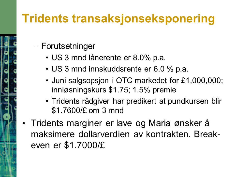 Tridents transaksjonseksponering – Forutsetninger US 3 mnd lånerente er 8.0% p.a. US 3 mnd innskuddsrente er 6.0 % p.a. Juni salgsopsjon i OTC markede