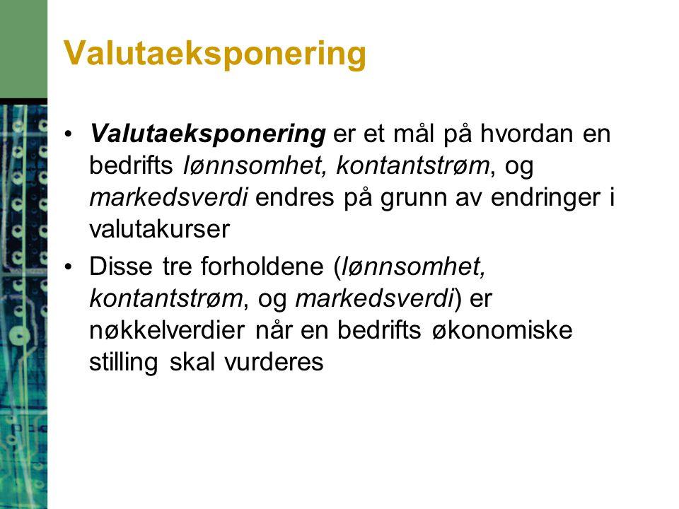 Valutaeksponering Valutaeksponering er et mål på hvordan en bedrifts lønnsomhet, kontantstrøm, og markedsverdi endres på grunn av endringer i valutakurser Disse tre forholdene (lønnsomhet, kontantstrøm, og markedsverdi) er nøkkelverdier når en bedrifts økonomiske stilling skal vurderes