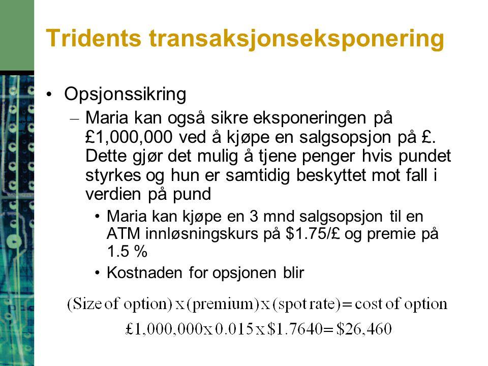 Tridents transaksjonseksponering Opsjonssikring – Maria kan også sikre eksponeringen på £1,000,000 ved å kjøpe en salgsopsjon på £. Dette gjør det mul