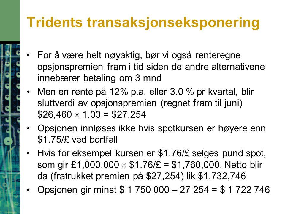 Tridents transaksjonseksponering For å være helt nøyaktig, bør vi også renteregne opsjonspremien fram i tid siden de andre alternativene innebærer betaling om 3 mnd Men en rente på 12% p.a.