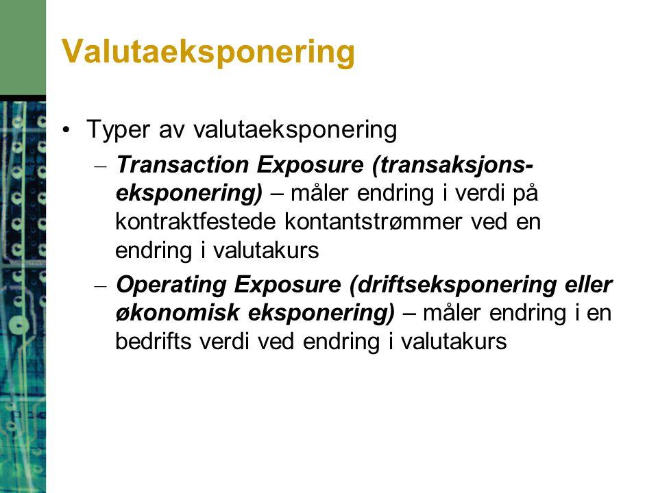 Valutaeksponering Typer av valutaeksponering – Transaction Exposure (transaksjons- eksponering) – måler endring i verdi på kontraktfestede kontantstrø