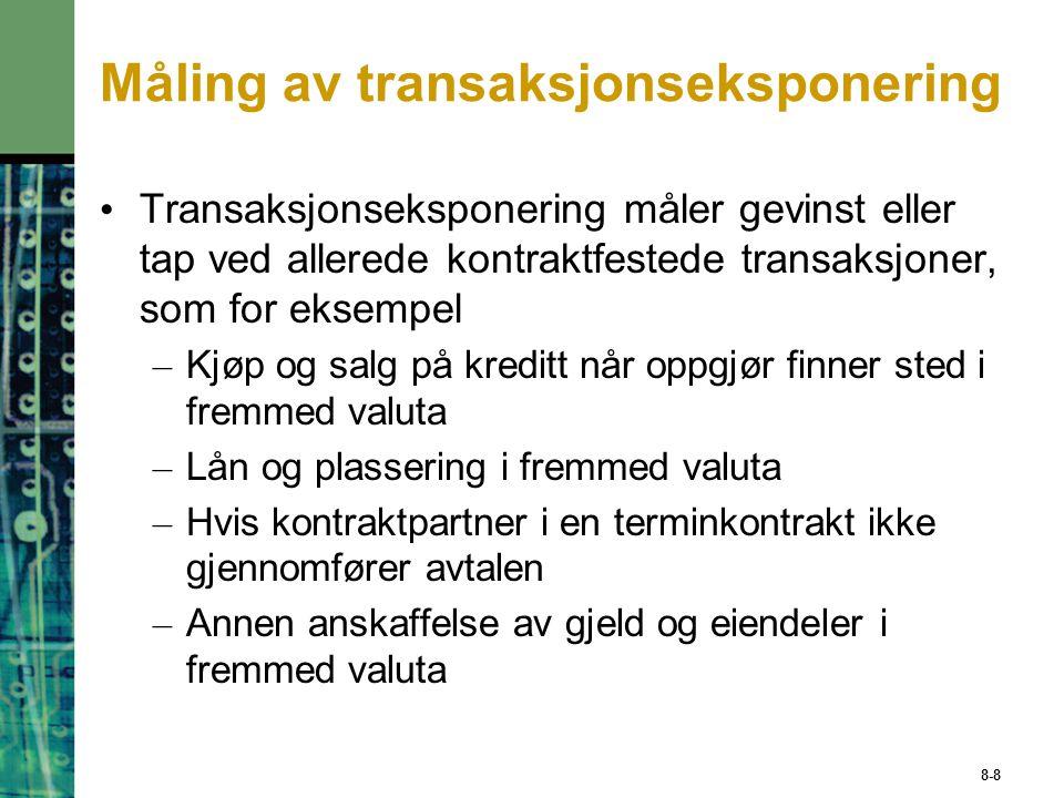 8-8 Måling av transaksjonseksponering Transaksjonseksponering måler gevinst eller tap ved allerede kontraktfestede transaksjoner, som for eksempel – K