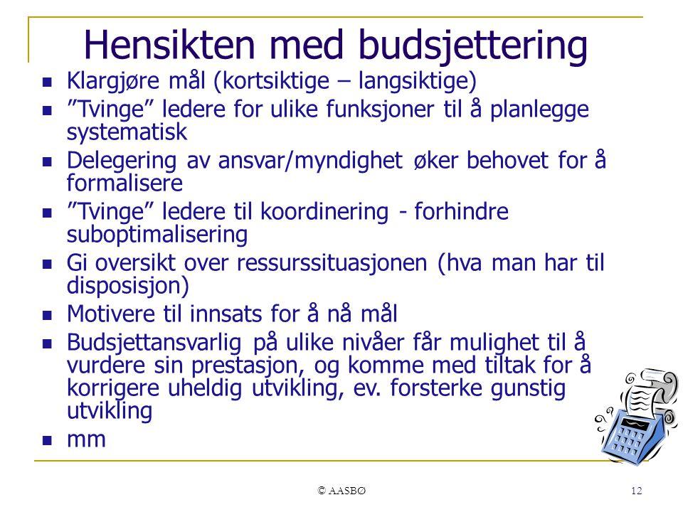 """© AASBØ 12 Hensikten med budsjettering Klargjøre mål (kortsiktige – langsiktige) """"Tvinge"""" ledere for ulike funksjoner til å planlegge systematisk Dele"""