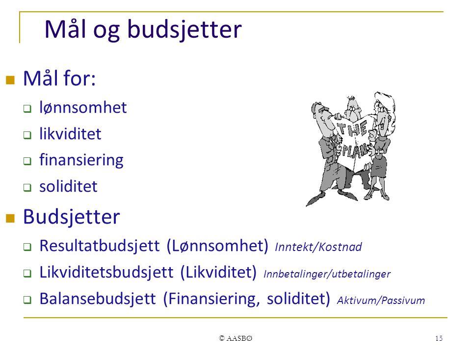 © AASBØ 15 Mål og budsjetter Mål for:  lønnsomhet  likviditet  finansiering  soliditet Budsjetter  Resultatbudsjett (Lønnsomhet) Inntekt/Kostnad