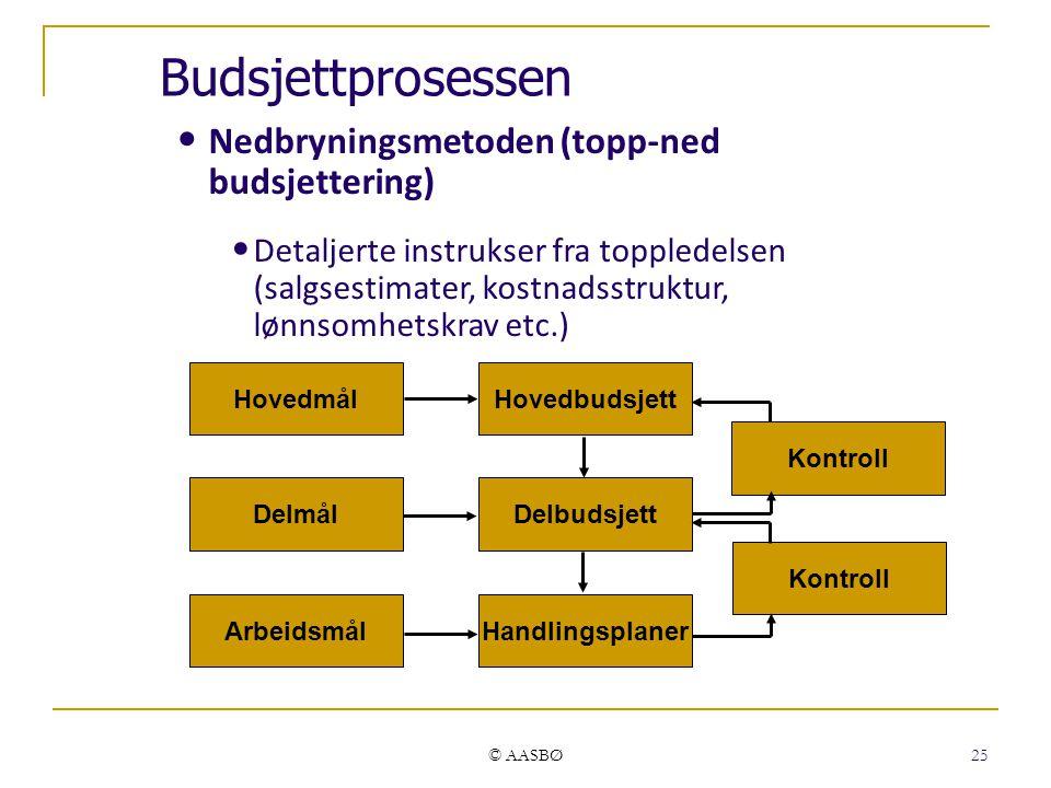© AASBØ 25 Nedbryningsmetoden (topp-ned budsjettering) Detaljerte instrukser fra toppledelsen (salgsestimater, kostnadsstruktur, lønnsomhetskrav etc.) Hovedmål Delmål Arbeidsmål Hovedbudsjett Delbudsjett Handlingsplaner Kontroll Budsjettprosessen